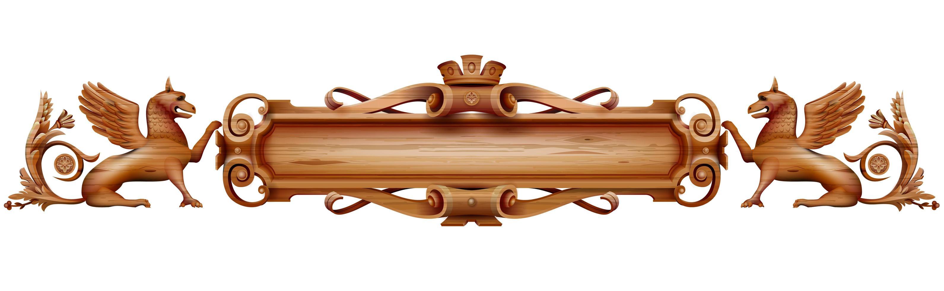 antiker Holzteller mit Löwen vektor
