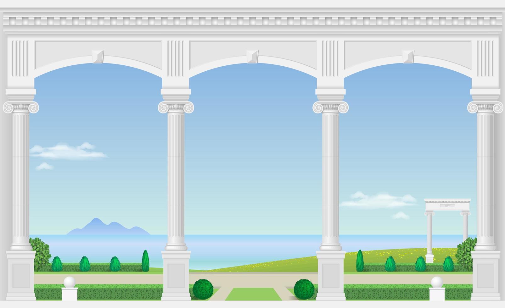 palats balkong med utsikt över trädgården och havet vektor