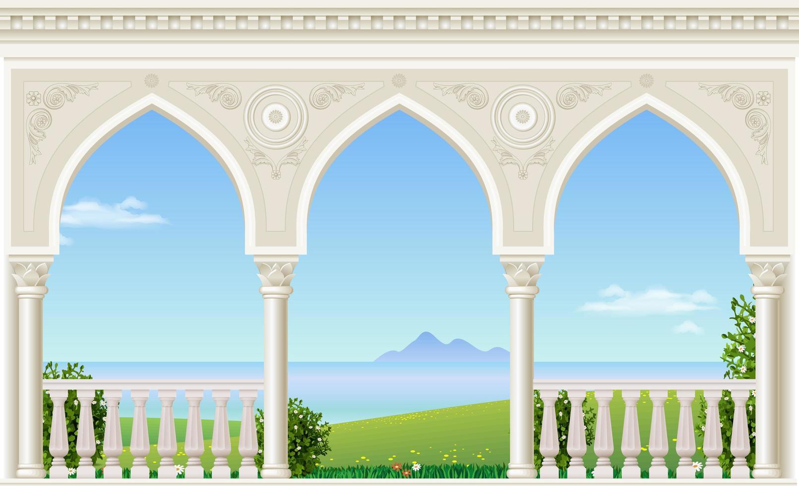 palats balkong med utsikt över havet vektor