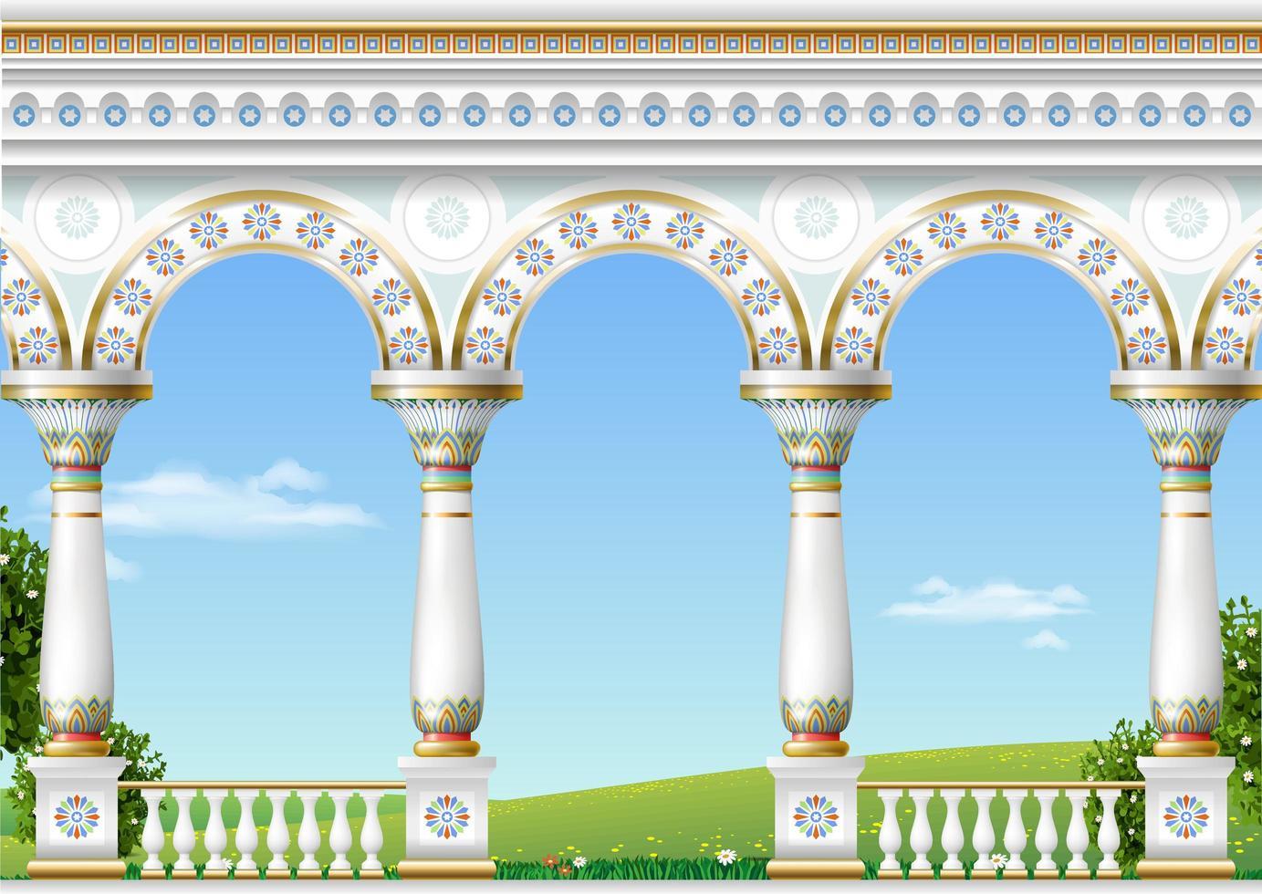 balkong i ett fantastiskt palats i östlig klassisk stil vektor