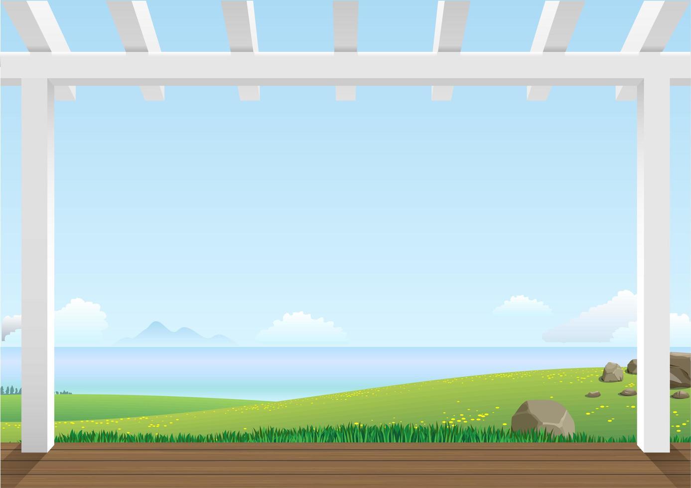 Landschaftsansicht mit grünen Hügeln vektor