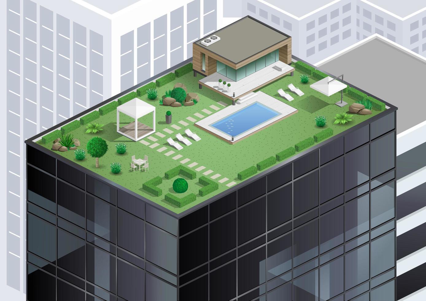 stuga på taket av skyskrapa vektor