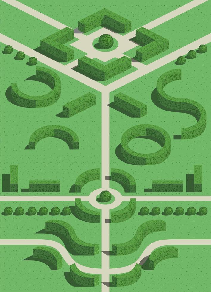 geometriska trädgårdsbuskar vektor