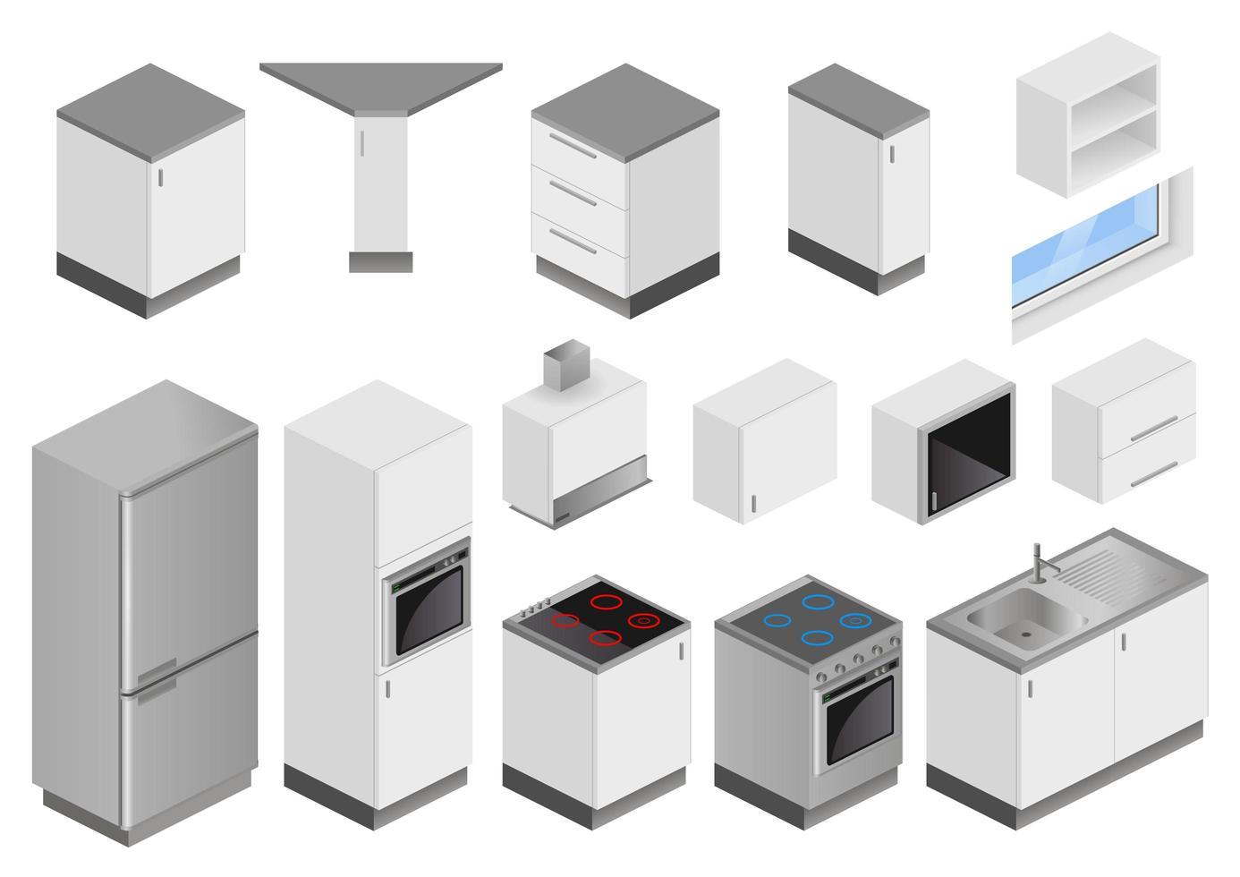 isometrische Küchenmöbel und Geräte vektor
