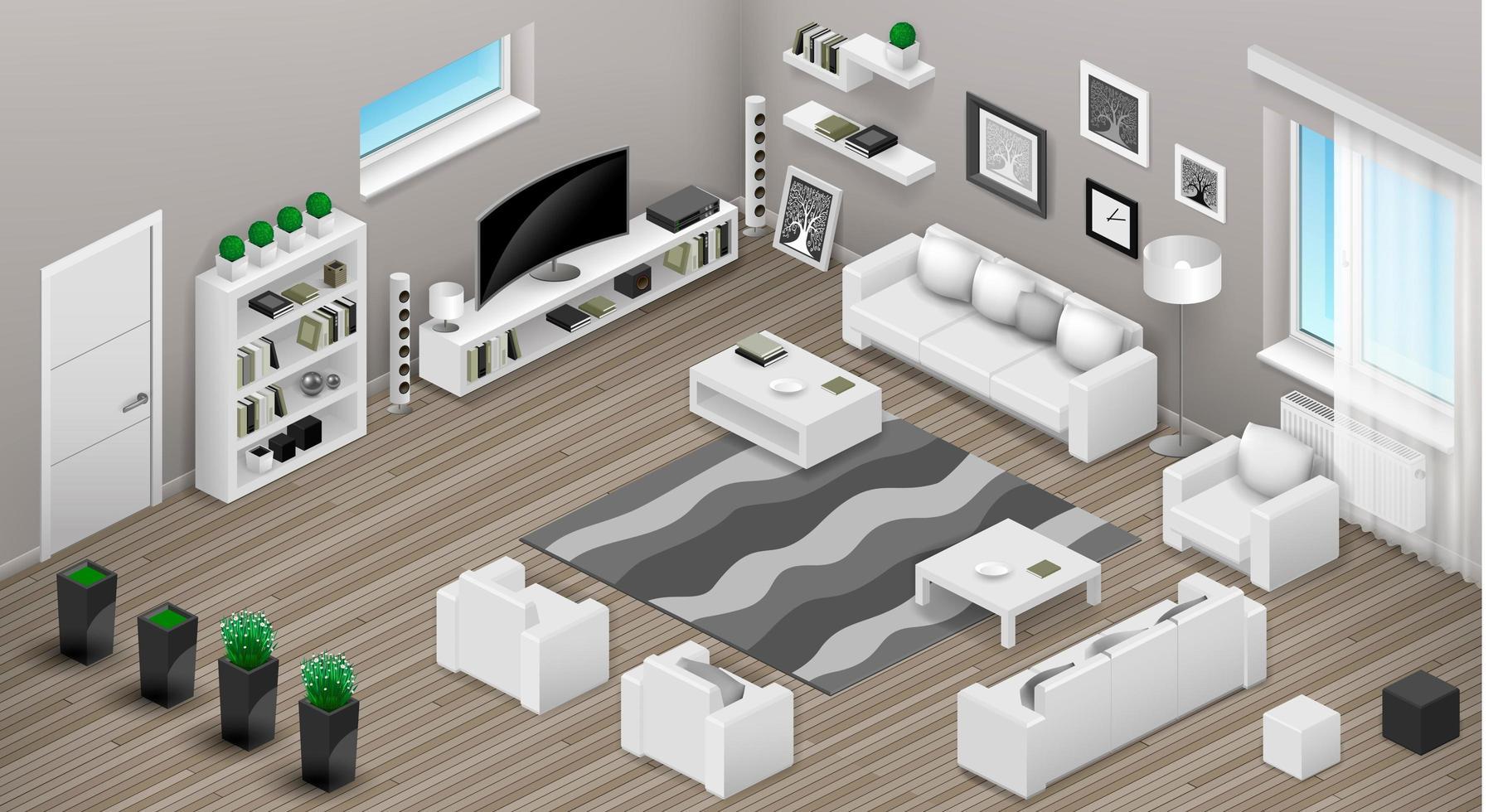isometrische Ansicht des Wohnzimmerinneren vektor