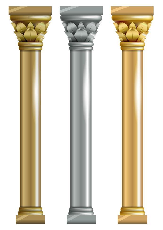 uppsättning av tre metalliska kolumner vektor