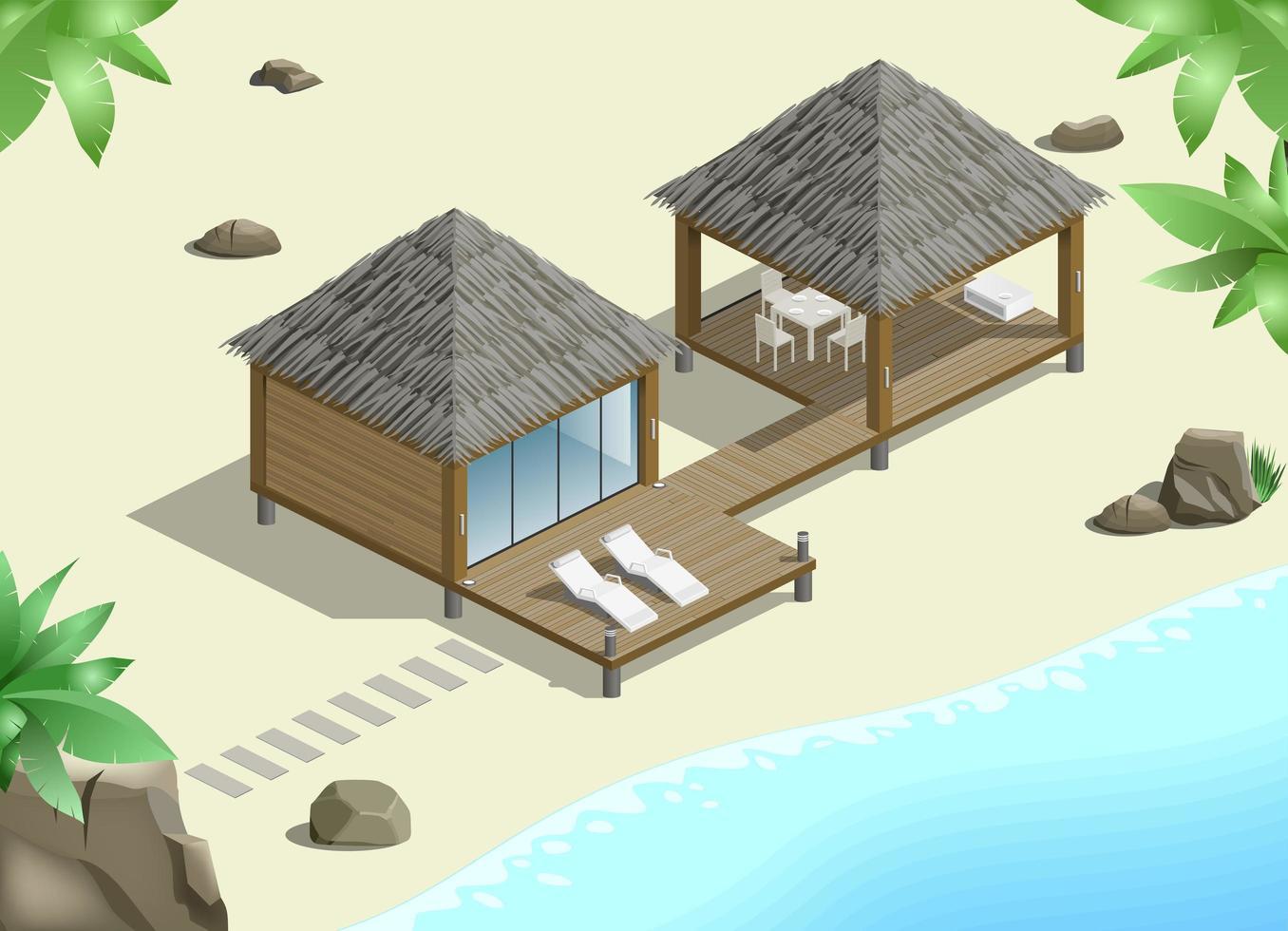 bungalow med havsutsikt vektor