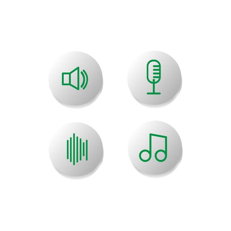 Sammlung von Audio-Symboltasten vektor