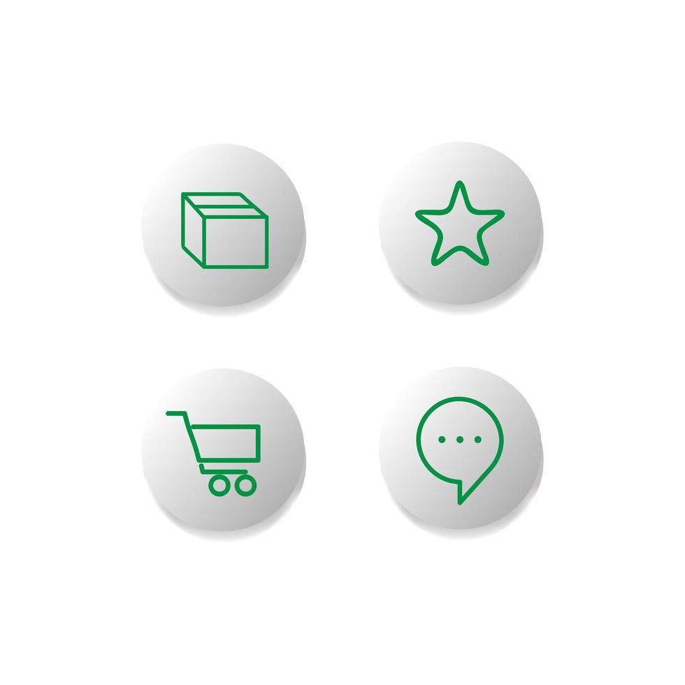 användargränssnitt shopping ikon knappuppsättning vektor