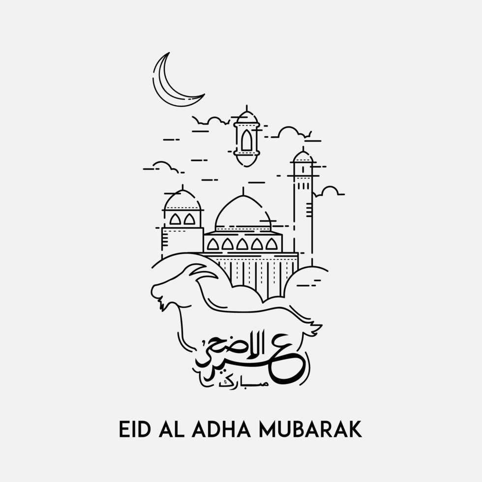 Eid al Adha Karte mit Linie Kunst Ziege und Moschee vektor