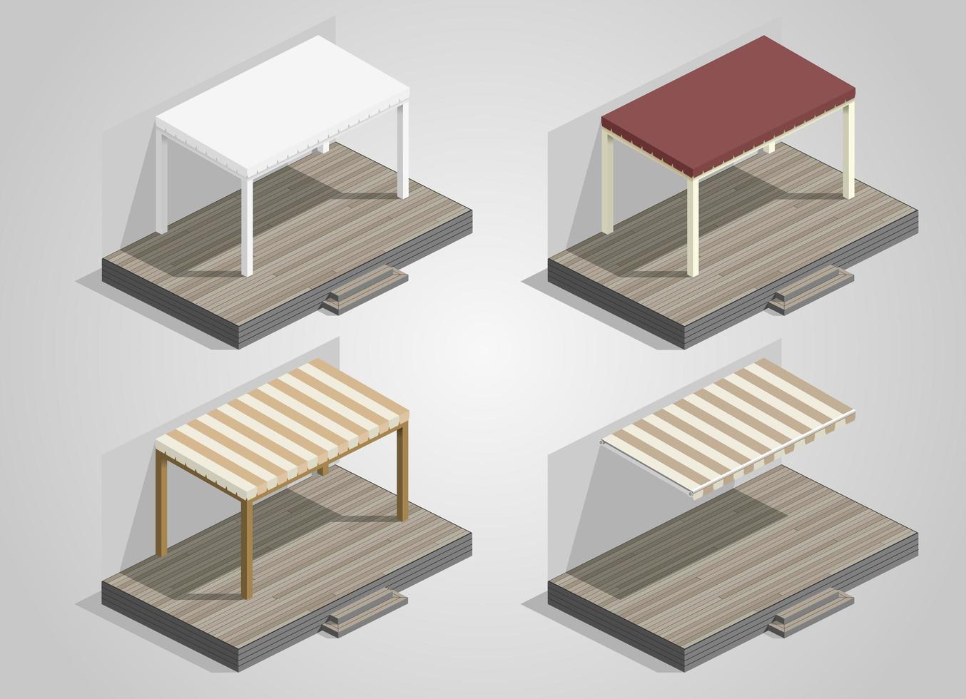 Satz von Vordächern und Markisen für eine Terrasse vektor