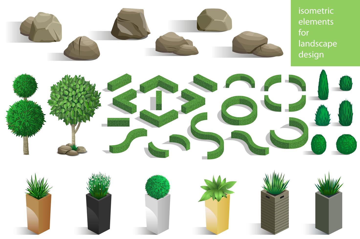 uppsättning av landskapselement och växter vektor