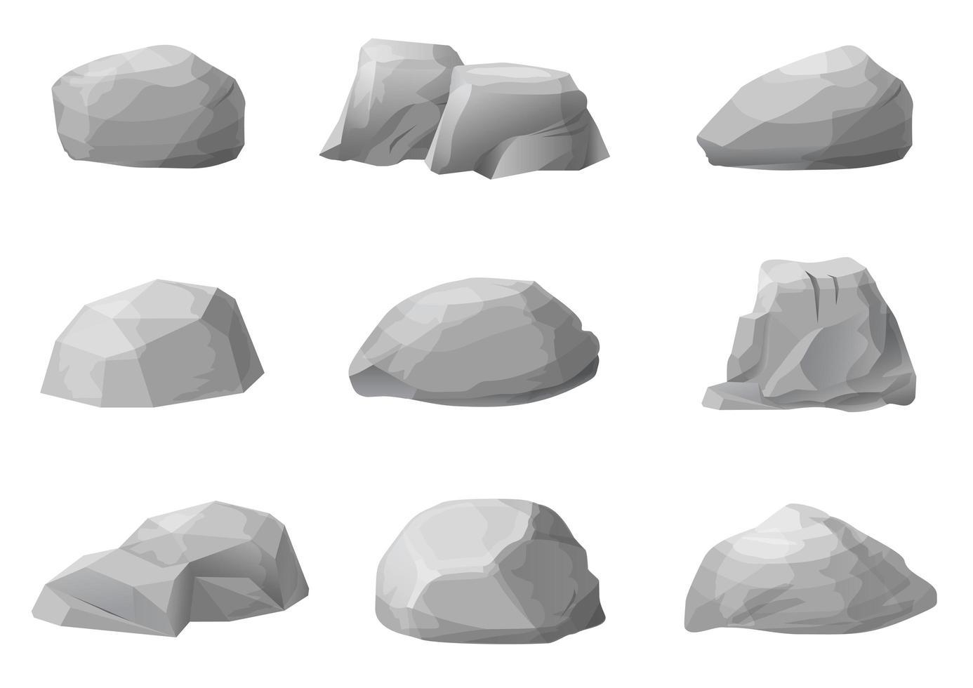 uppsättning olika naturliga stenar vektor