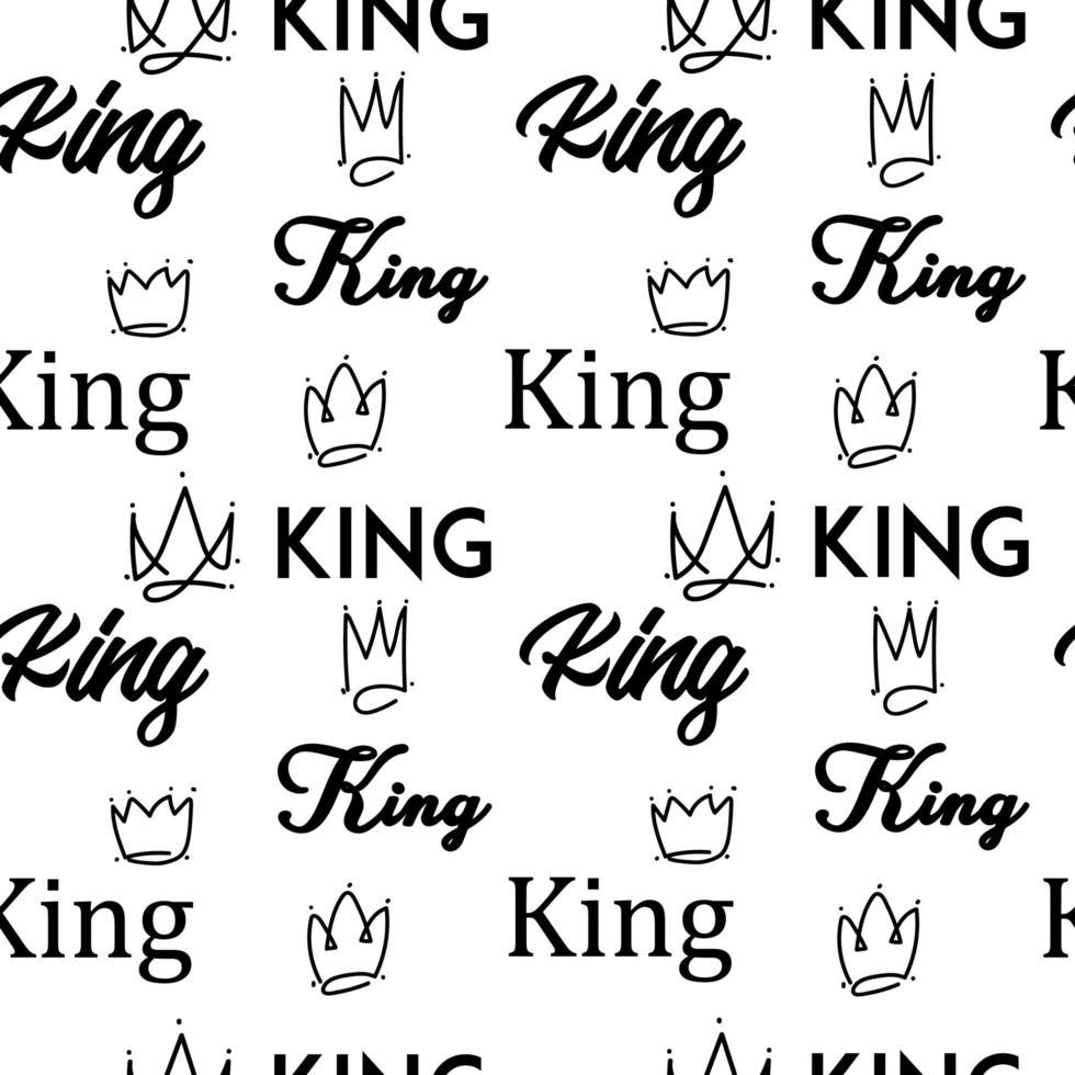 König Gekritzel Text nahtloses Muster vektor