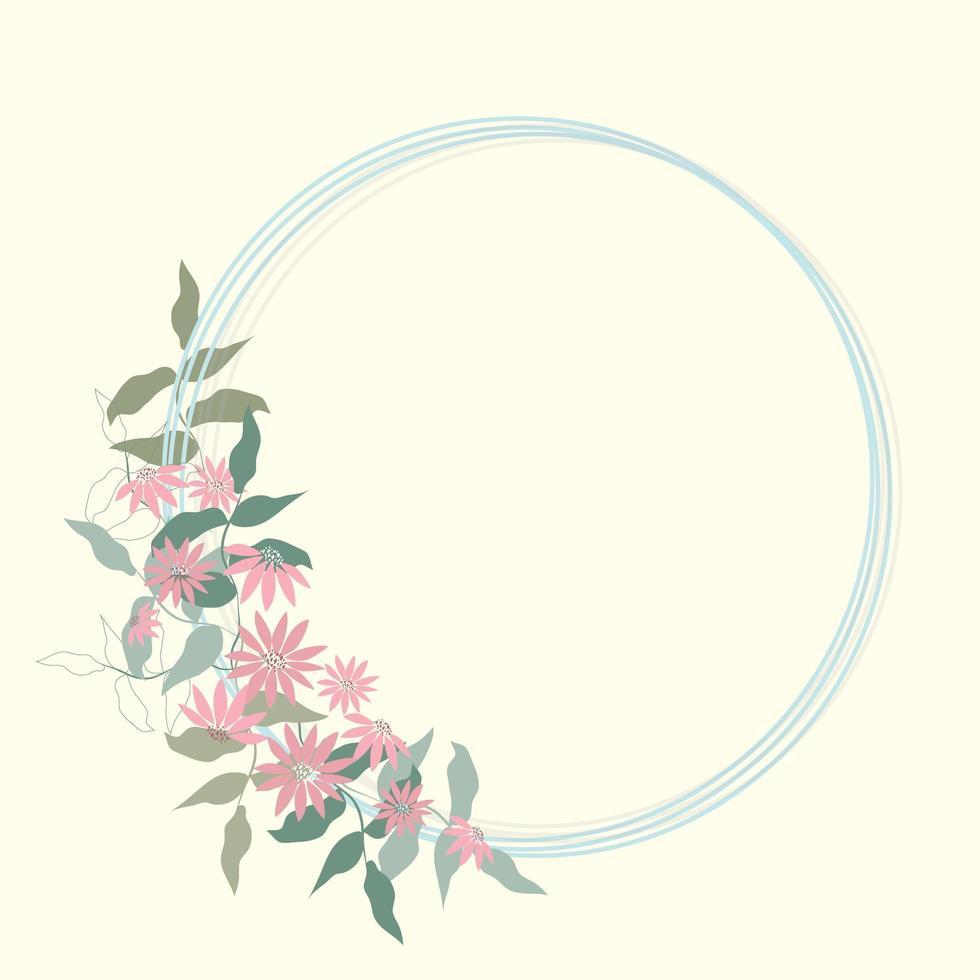 romantiska blommig ram kort vektor
