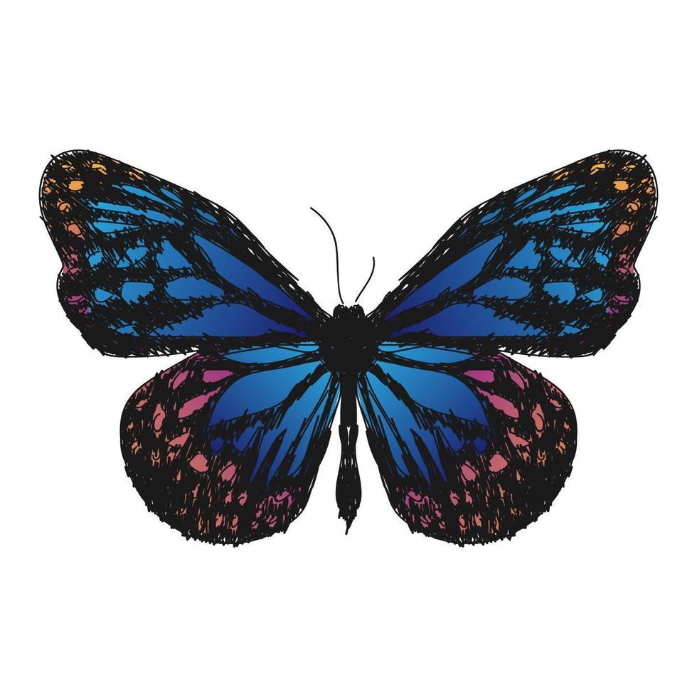 Illustrationszeichnungsstil des Schmetterlings vektor