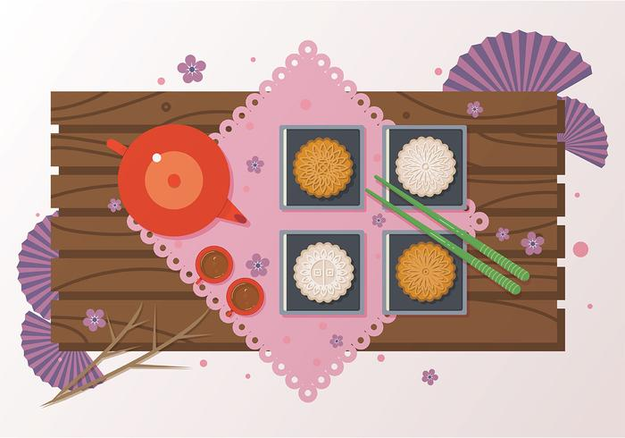 Mooncake Dessert Vektor
