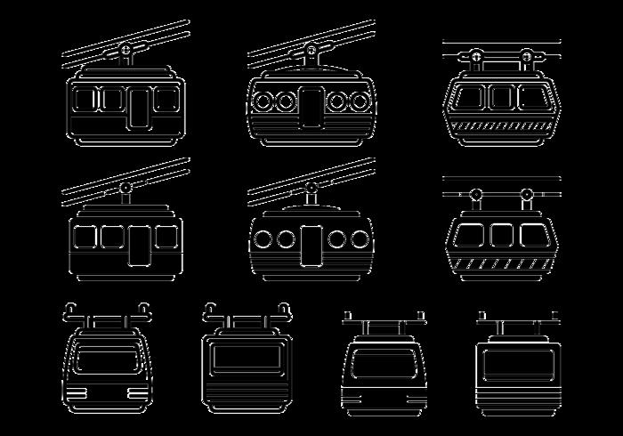 Seilbahn Vektor Icons