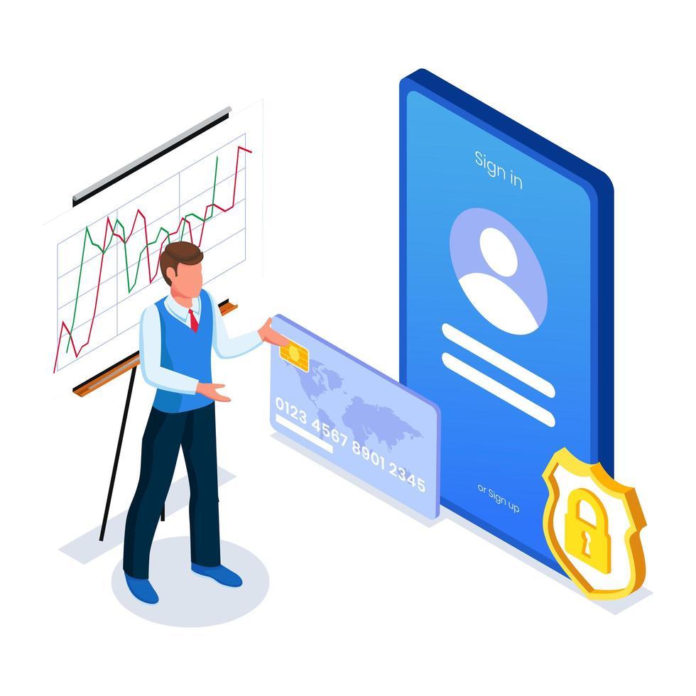 männlich mit Smartphone und Diagrammbildschirmschnittstelle vektor