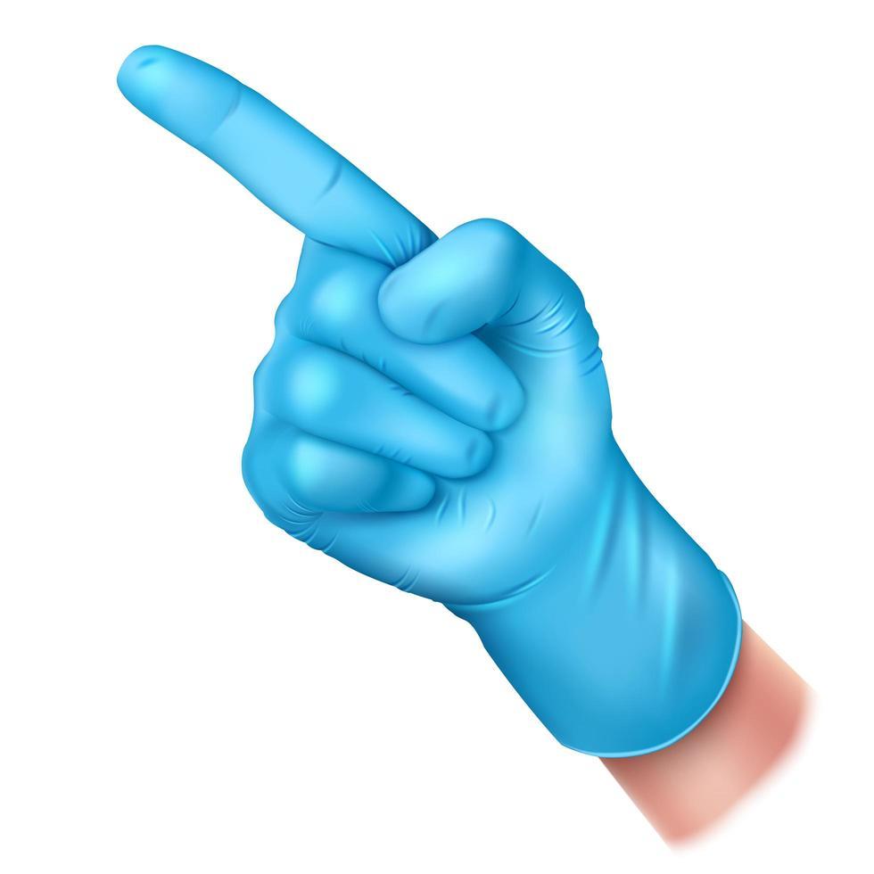 Zeige Hand mit Gummihandschuhen vektor