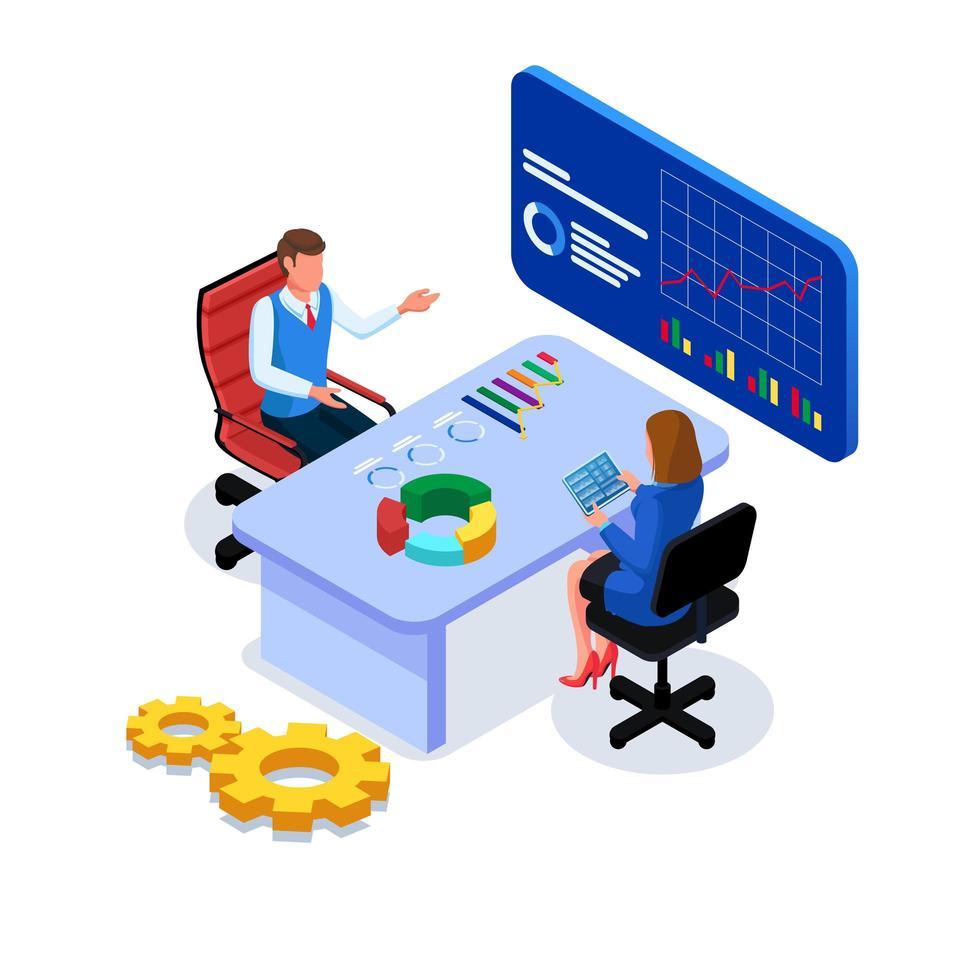 Geschäftsleute kommunizieren und analysieren vektor