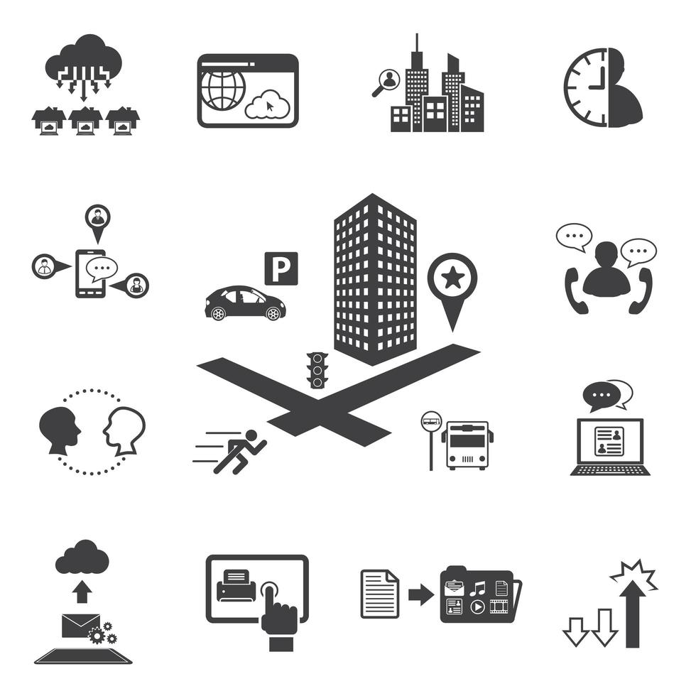 Business- und Technologie-Icon-Set vektor