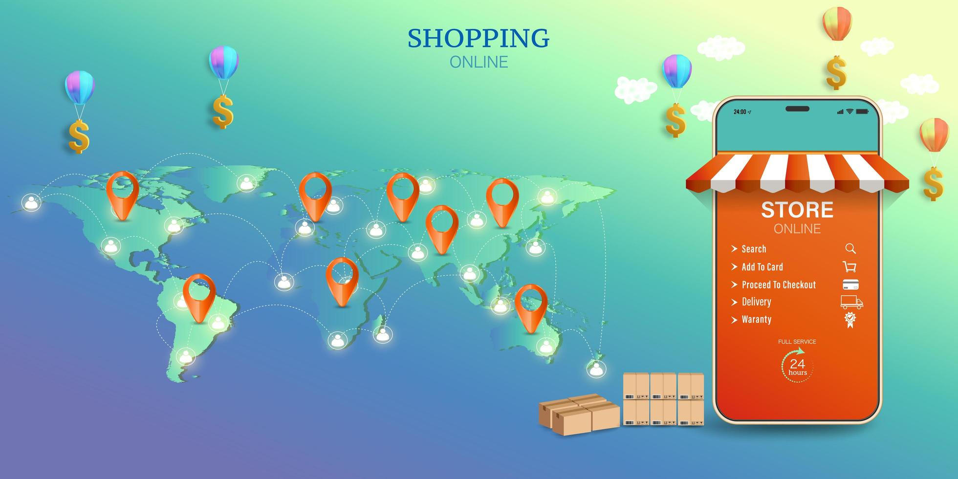 Einkaufen auf Mobil- und Lieferfrachtkonzept vektor