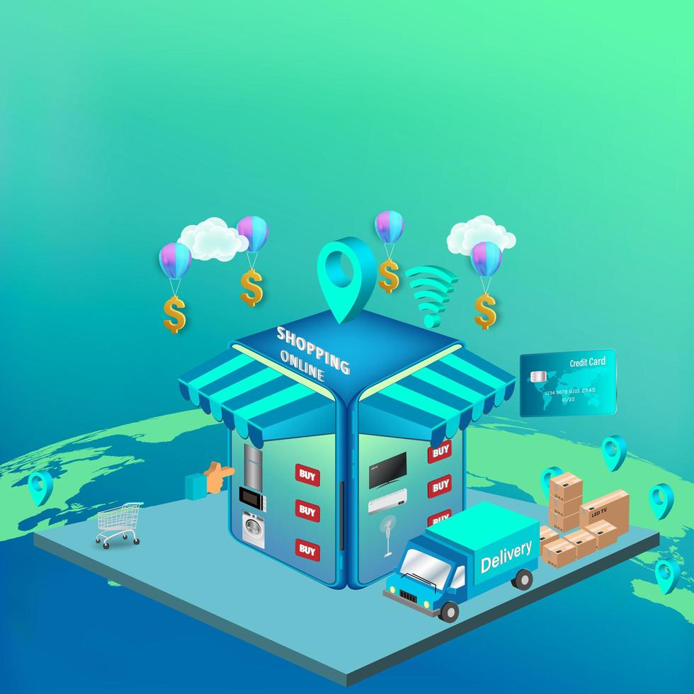 Online-Shopping auf der Website oder in einer mobilen Anwendung vektor