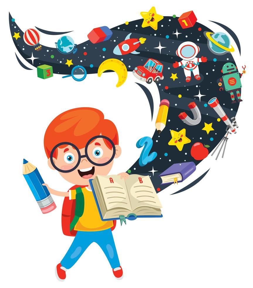 Junge hält Buch mit Phantasie, die heraus gießt vektor