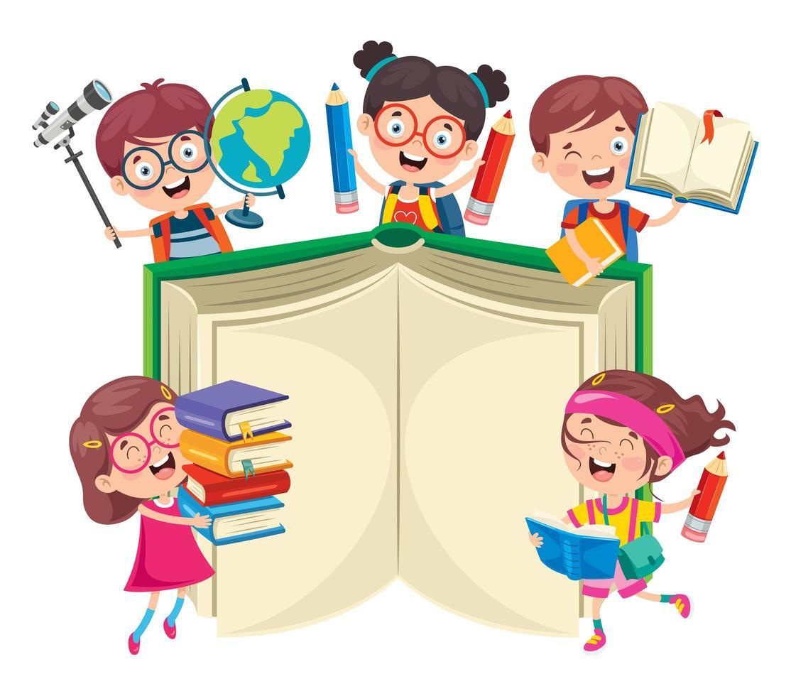glückliche Schulkinder um großes Buch vektor