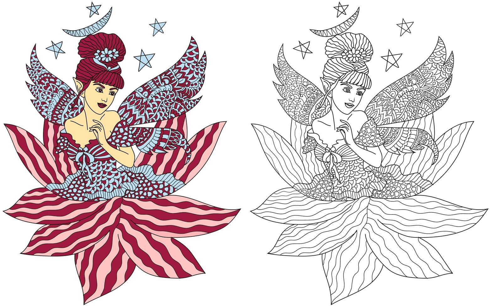 fairy målarbok vektor