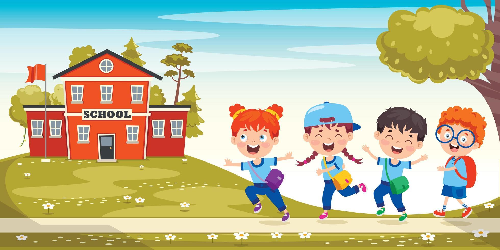 Schulkinder laufen zum Schulhaus vektor