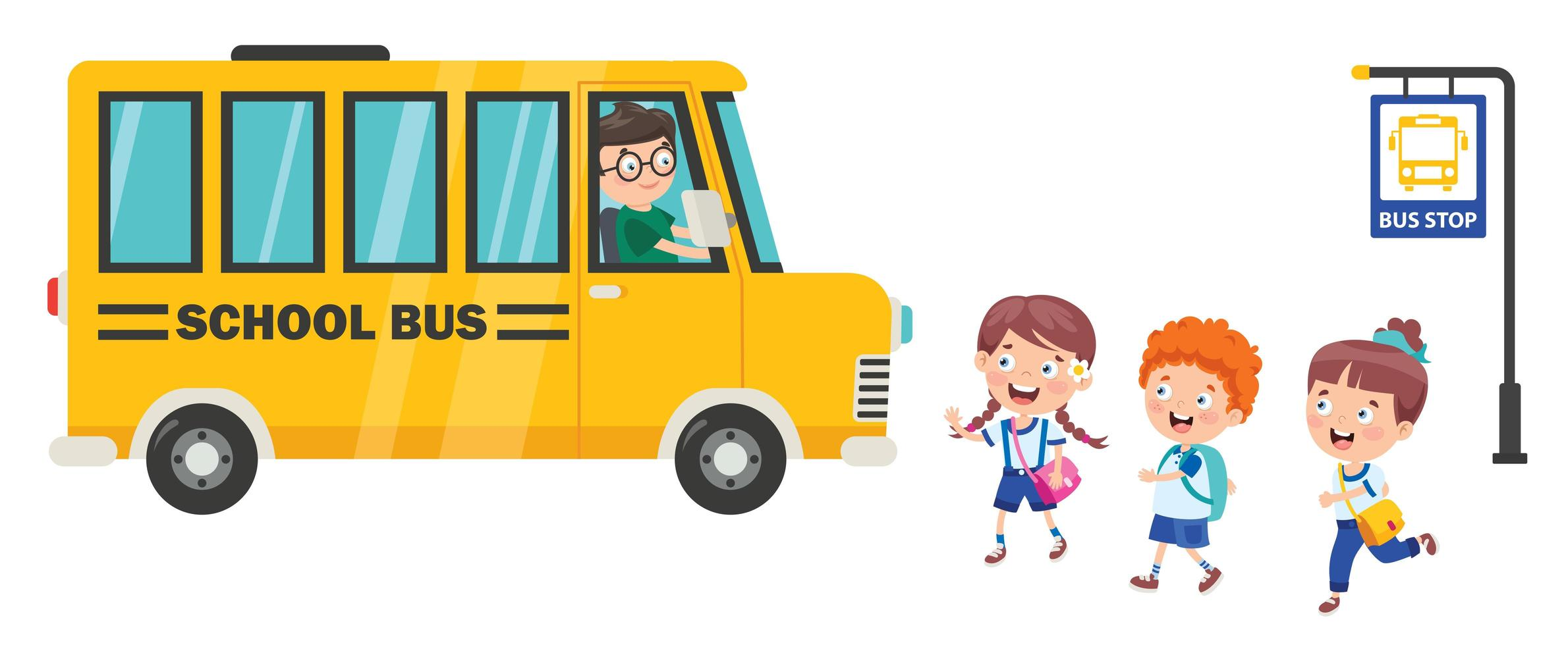 glada barn som går till skolbussen vektor