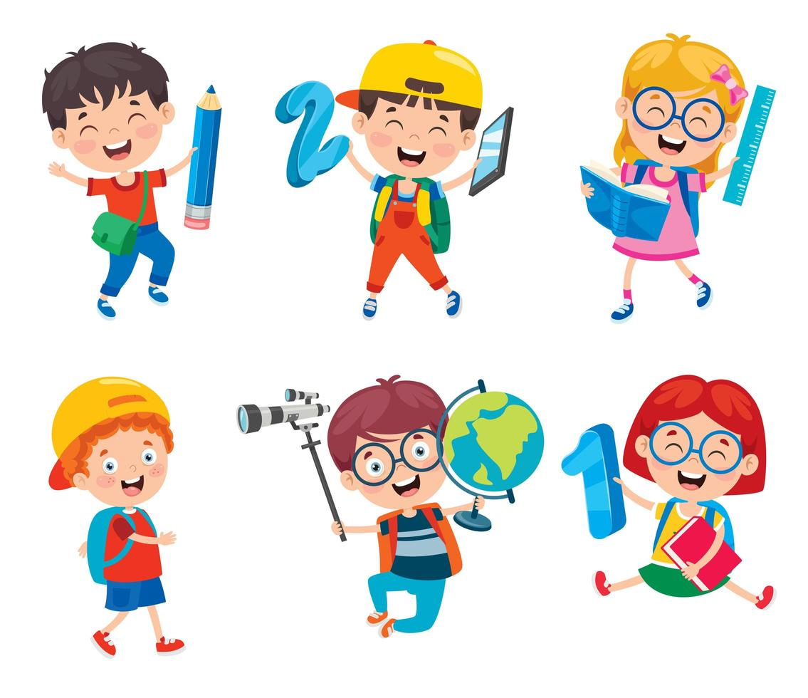 glückliche Schulkinder, die Schulgegenstände halten vektor