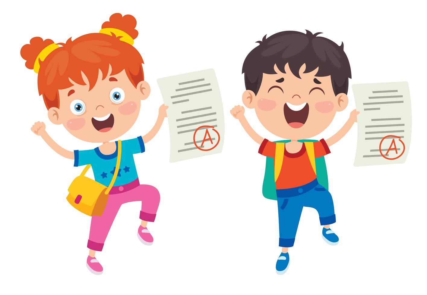 glada skolbarn med '' a '' betyg vektor