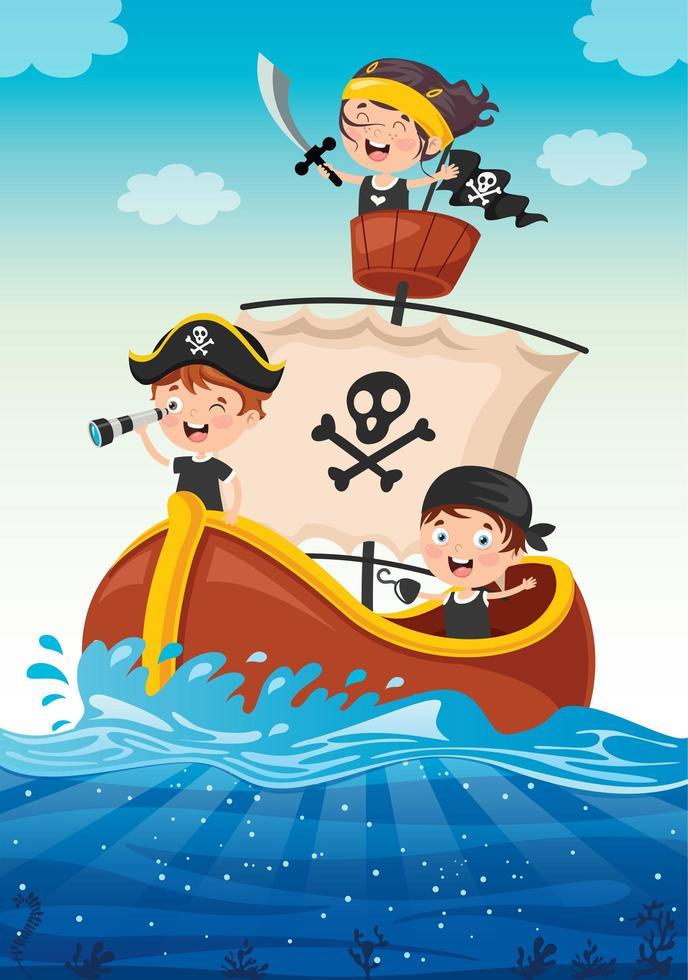 små piratbarn som seglar på havet vektor