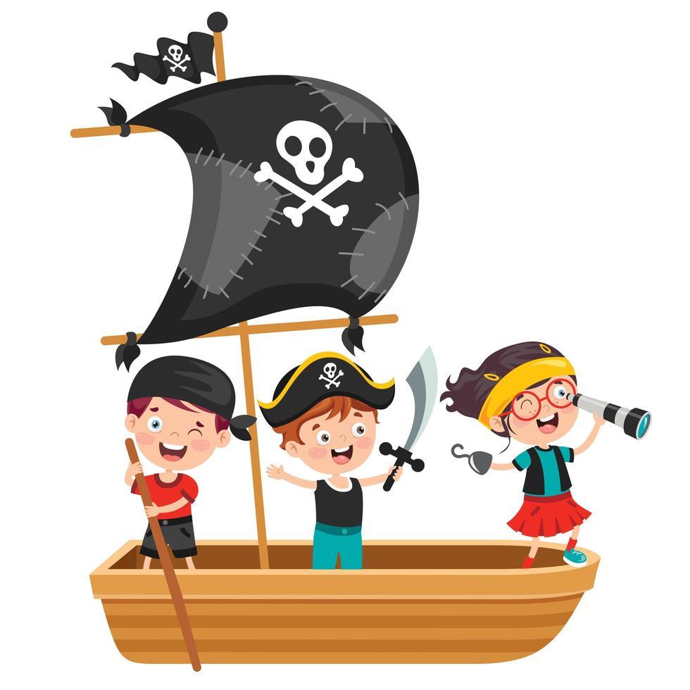 Piratenkinder posieren auf Holzboot vektor