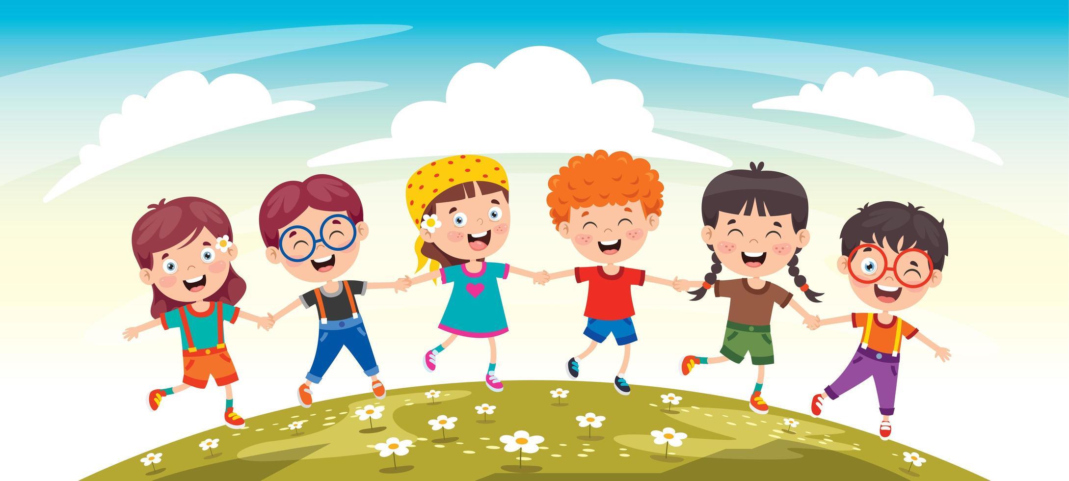 glada barnvänner som har kul vektor