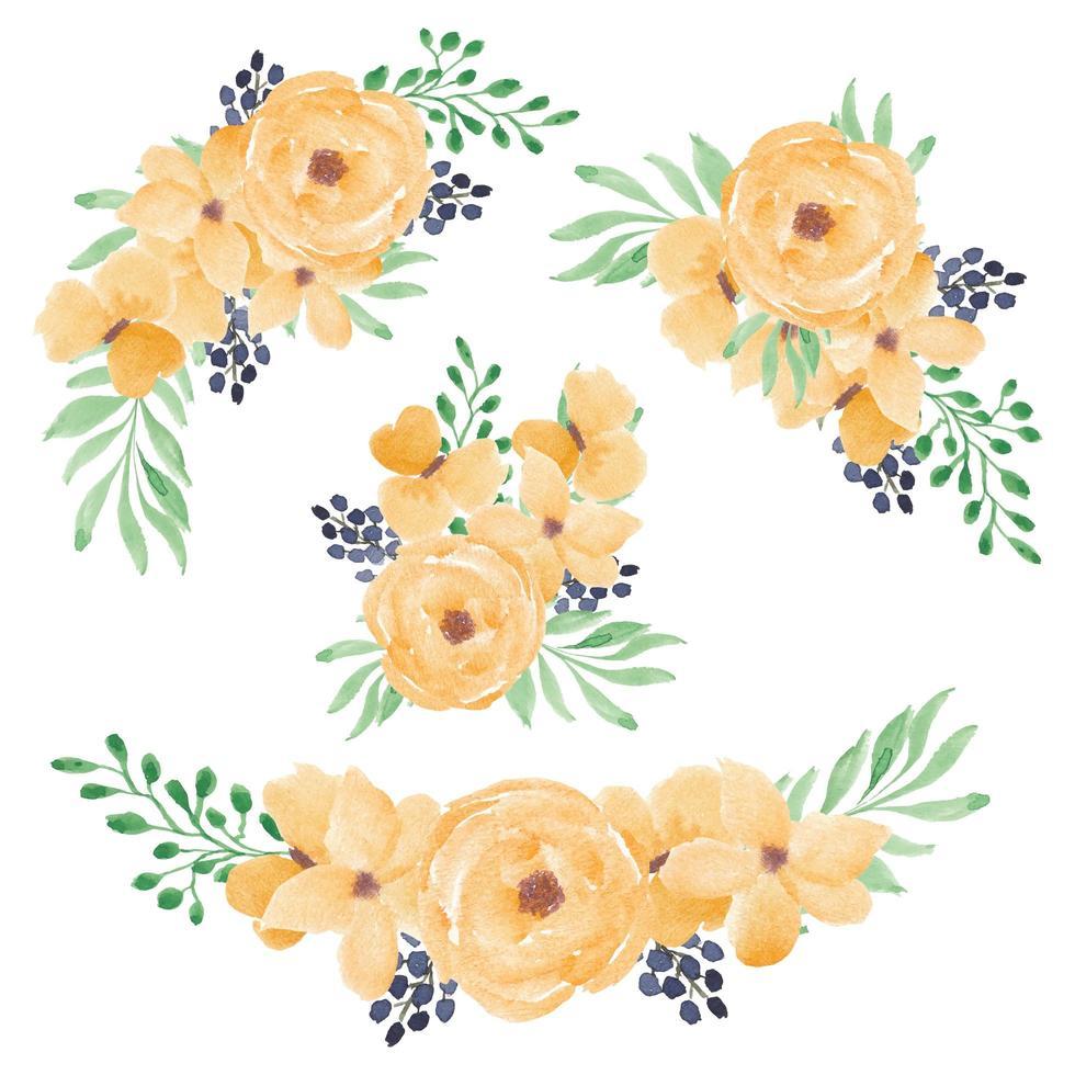 gelbes Aquarell-Rosenblumenstrauß-Set vektor