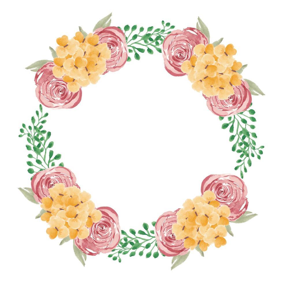 Aquarell rosa und gelber Blumenkranz vektor