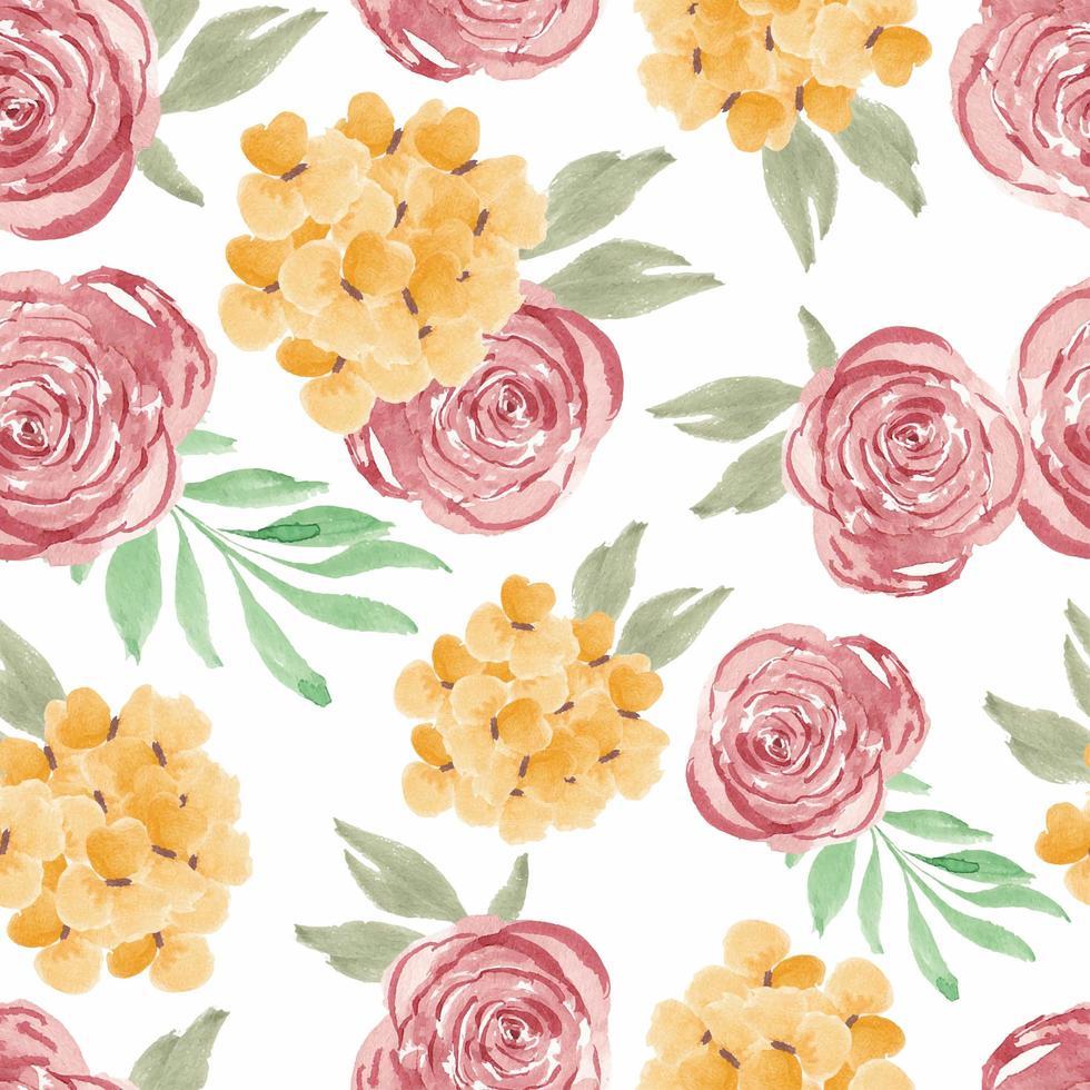akvarell ros kronblad sömlös blommönster vektor