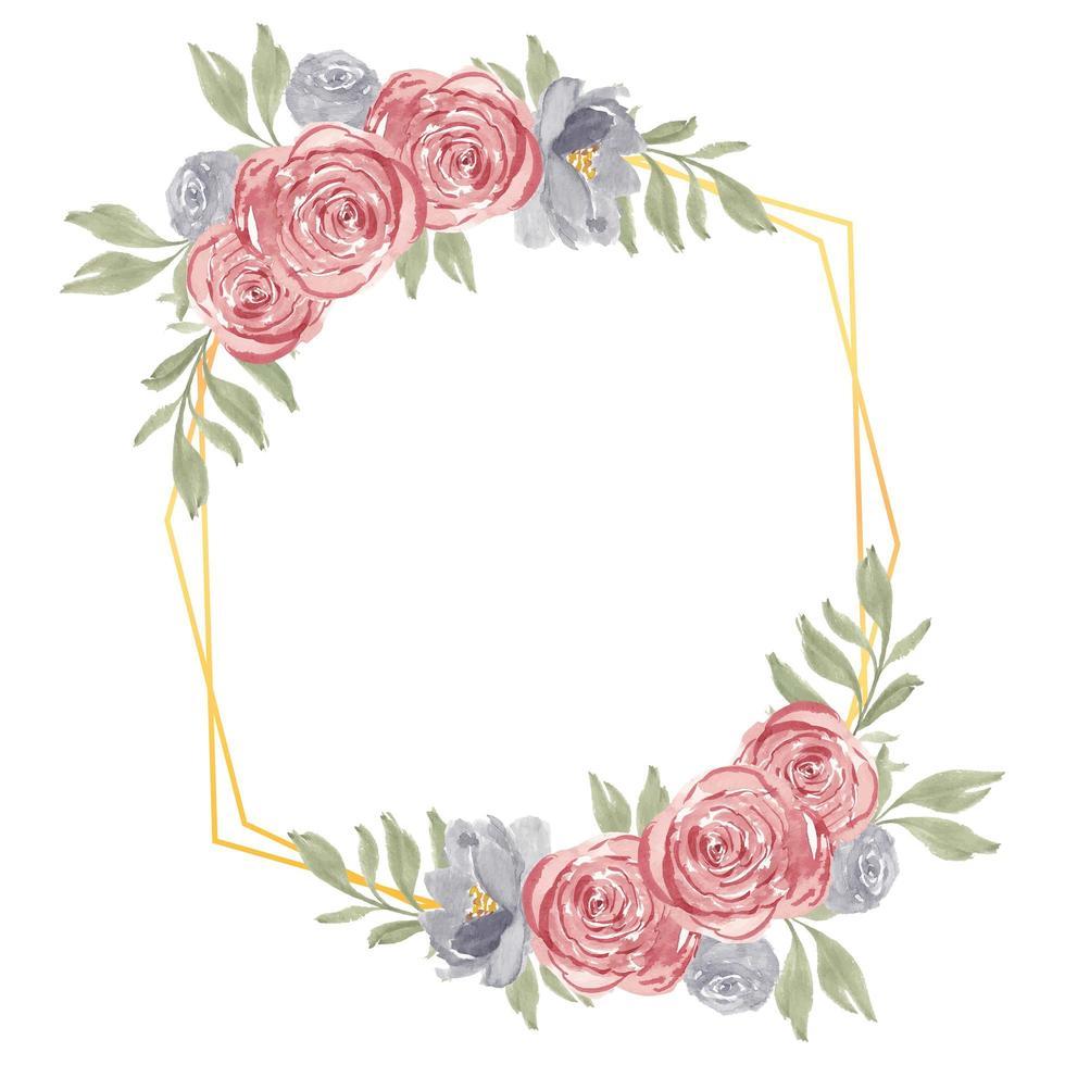 Aquarell handgemalte rustikale Rose Blumenrahmen vektor