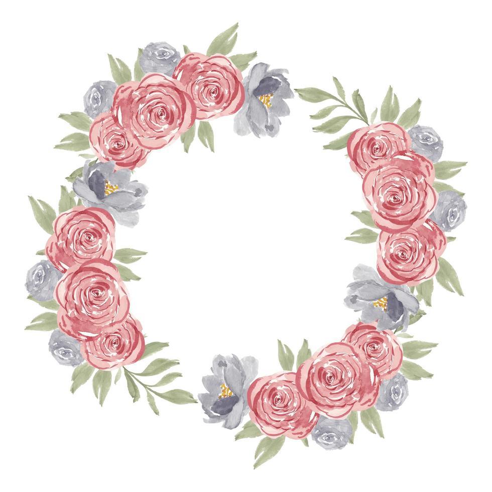 Aquarellrosa Rosenblumenkreisrahmenkranz vektor