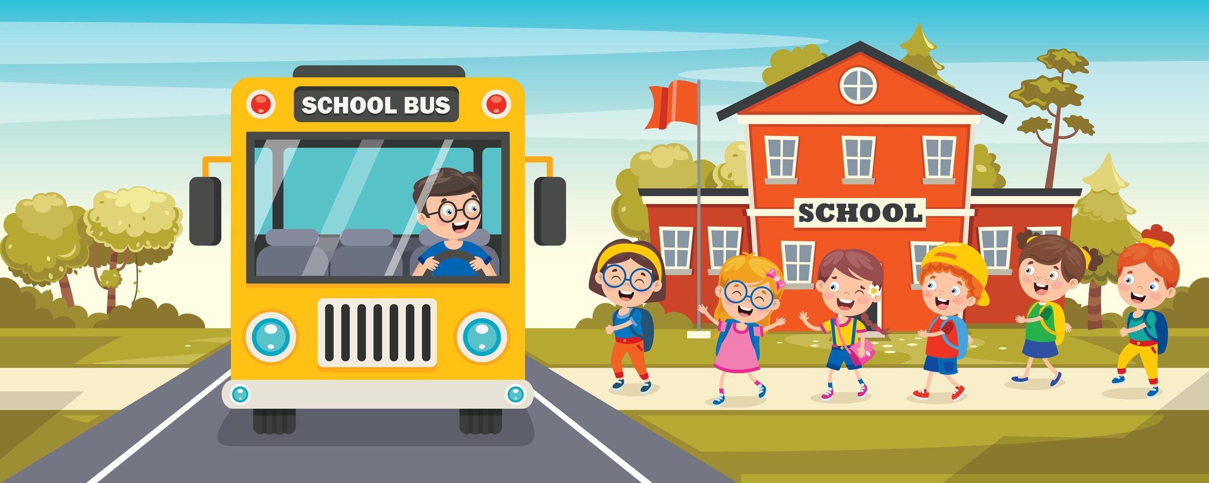 gelber Bus und kleine Schulkinder in der Schlange vektor