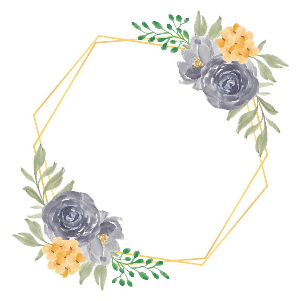akvarell rustik lila och gul ros blomma ram vektor