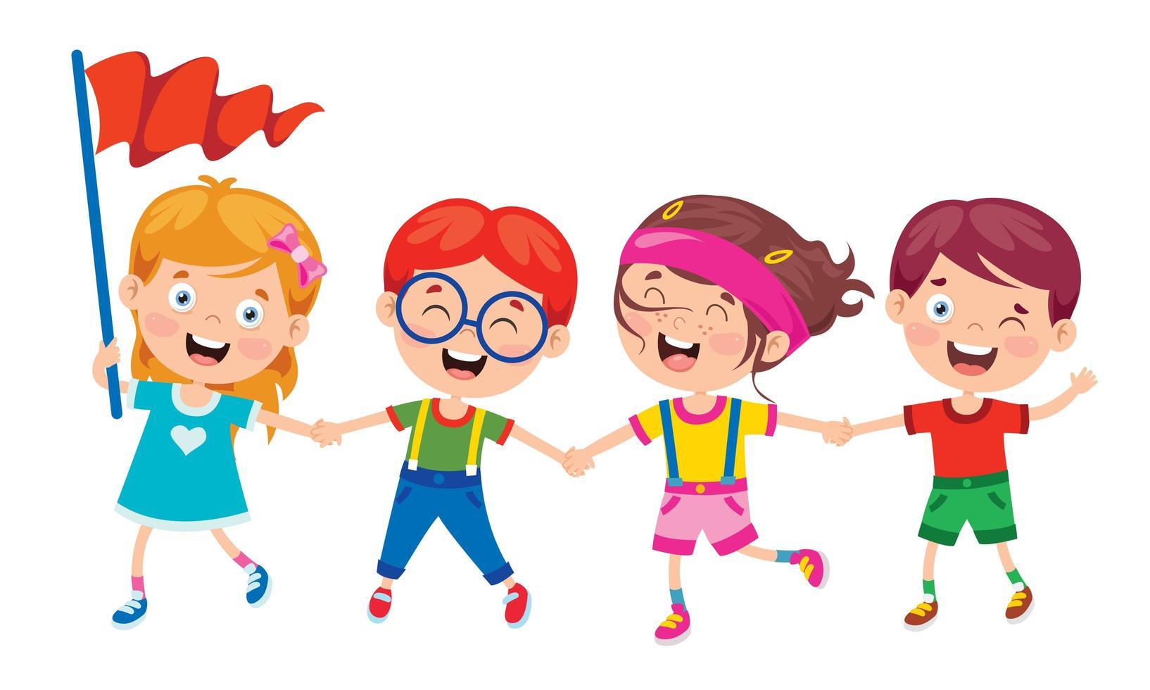 glückliche Kinder, die Hände halten, die Spaß haben vektor
