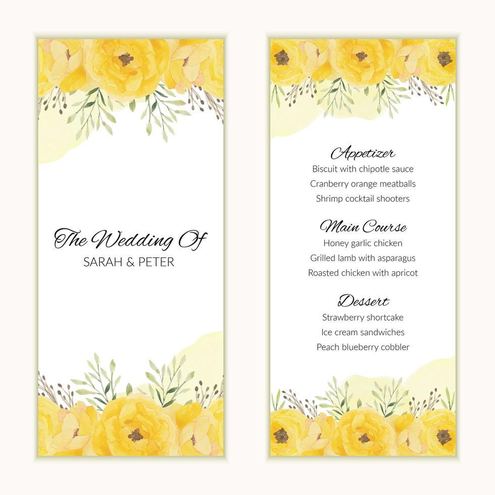 Hochzeitsmenükartenschablone mit gelben Blumen vektor