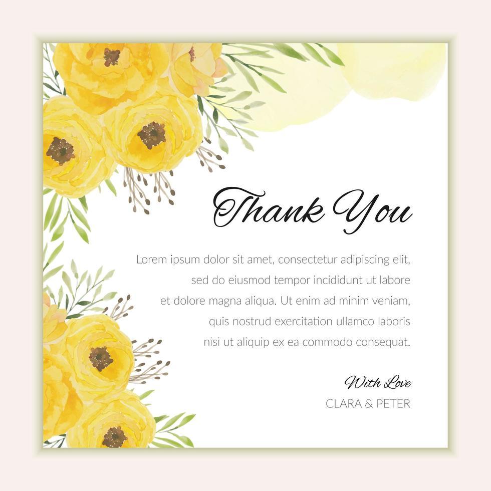 tackkortsmall med akvarell gula blommor vektor