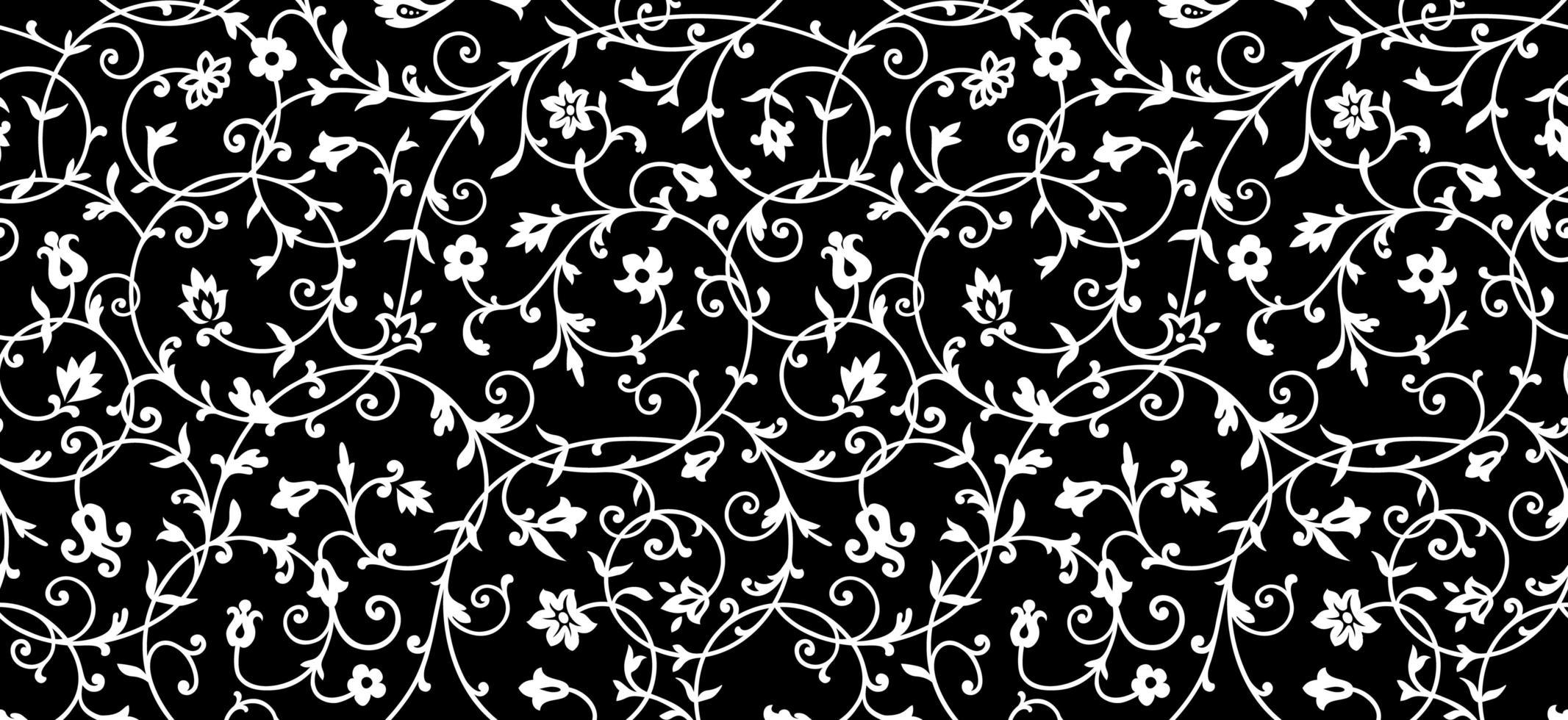 vintage blommönster i vitt på svart vektor