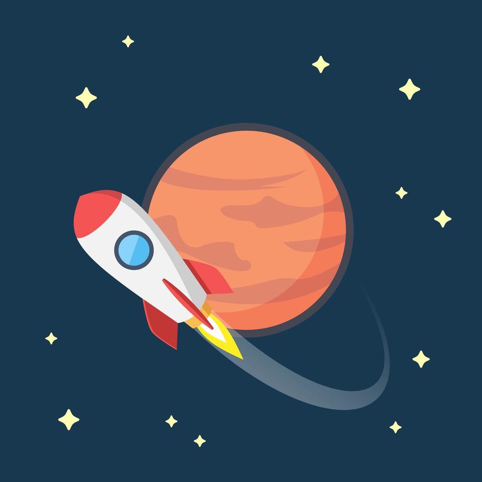 Rakete fliegt im Weltraum um den Mars vektor